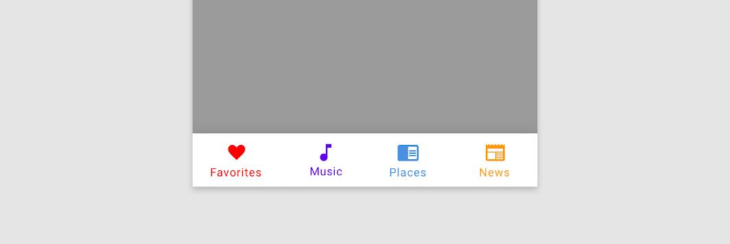 رنگ ها در  Bottom Navigation