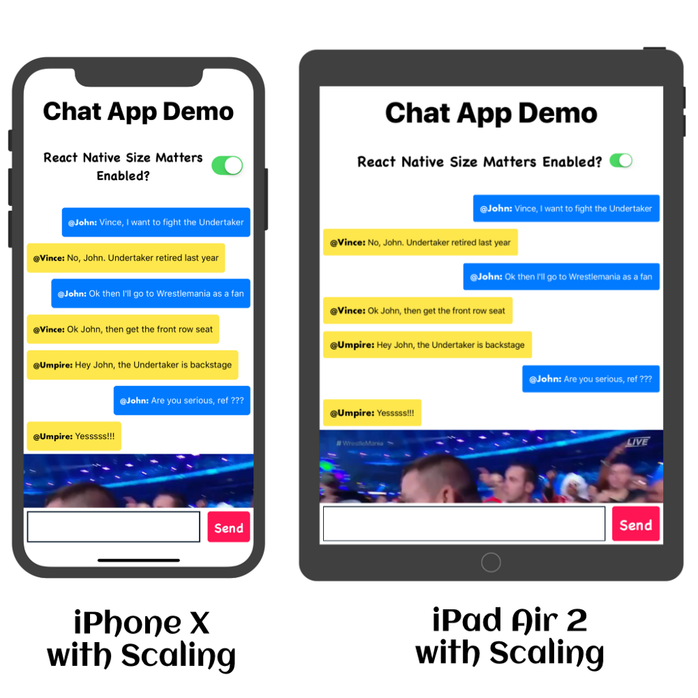 iPhone X (on the left) & iPad Air 2 (on the right) with Scaling