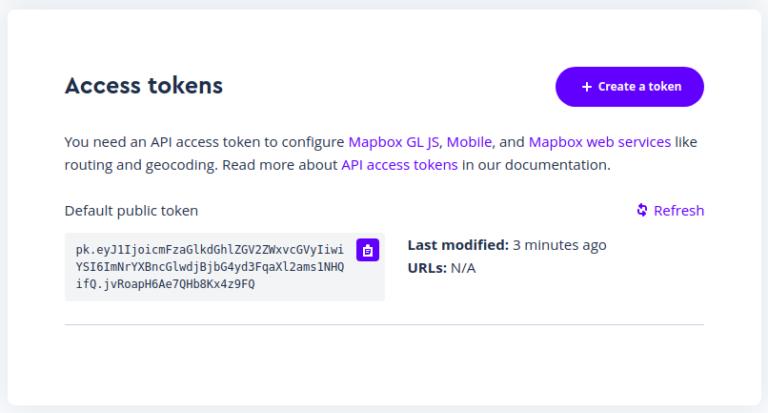 گرفتن access token از map box